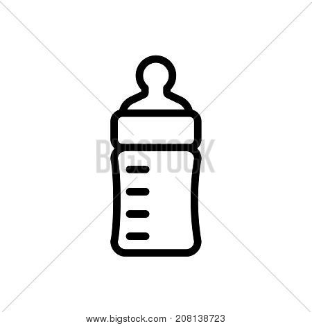 Baby feeding bottle thin line icon. Outline symbol baby nipple for the design of children's webstie and mobile applications. Outline stroke kid feeding accessory pictogram.