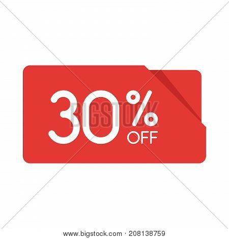 Special Offer Sale Red Rectangle Origami Tag. Discount 30 Percent Offer Price Label, Symbol For Adve