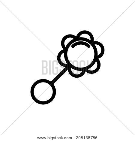 Baby rattle thin line icon. Outline symbol baby toy for the design of children's webstie and mobile applications. Outline stroke kid plaything accessory pictogram.