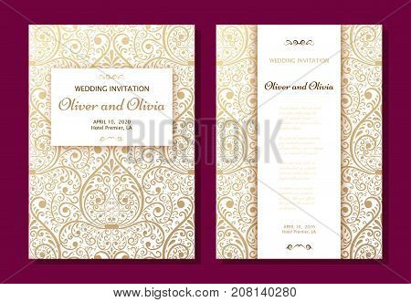 Set of wedding invitation templates. Cover design with gold Damask ornaments. Vector illustration