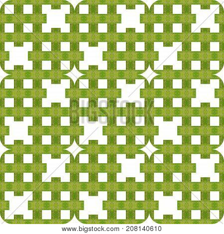 Abstract seamless pattern of green texture design; white squares, geometric shapes and four-pointed stars arranged in diagonal stripes. Can use as background, print on gift wraping paper/fabric, wallpaper