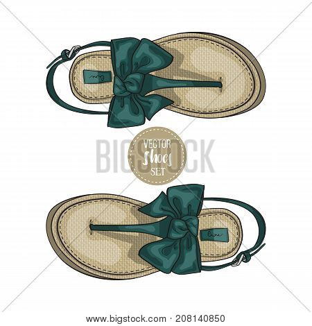 Vector two color womens t-strap flip flops with a bow. Vector illustration, EPS 10