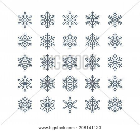 Snowflake flat icons set. Collection of cute geometric snowflakes, stylized snowfall. Design element for christmas or new year card, winter ornament. Frozen snow flakes silhouette on white background.