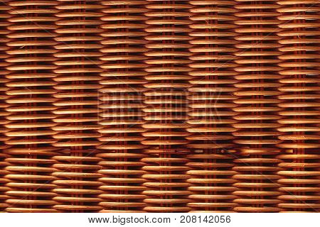 closeup of woven rattan handmade box or furniture for texture background