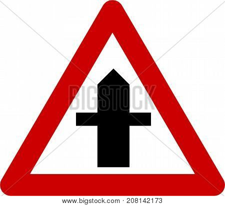 Warning sign with crossroads symbol on white background