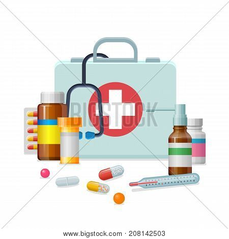 First aid kit medicine cartoon style isolated. Doctor's first-aid kit in a cartoon style and isolated for designers and illustrators. Medicine chest with tools and drugs as vector illustration.