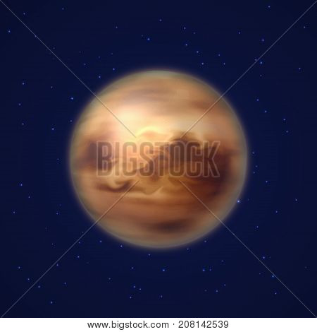 Planet venus background night sky cartoon style. Planet venus against the background of the night sky in cartoon style for designers and illustrators. Celestial body as a vector illustration