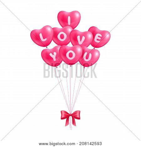 Declaration I love you hearts balloons isolated. Declaration text I love you in the form of hearts from balls with a bow for designers and illustrators. Surprise in the form of a vector illustration