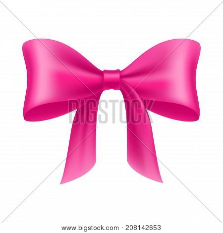 Pink bow cartoon isolated. Pink bow realistic on a white background isolated for designers and illustrators. Bow-knot in the form of a vector illustration