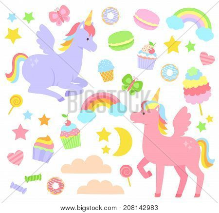 Set of unicorns, rainbows, cupcakes and other cute items