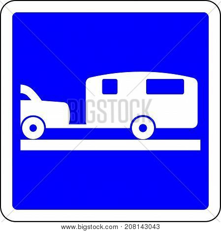 Caravan allowed blue road sign on white background