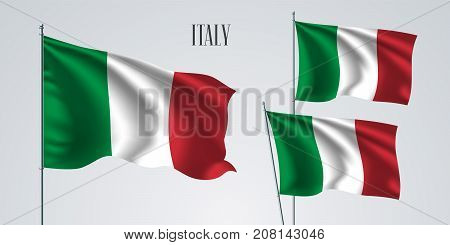 Italy waving flag set of vector illustration. Green red white colors of Italy wavy realistic flag as a patriotic symbol