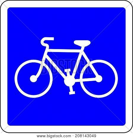 Bicycle allowed blue road sign on white background