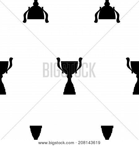 Winner trophy cup seamless pattern. Black simple silhouette texture. Championship prize for first place. Vector illustration.