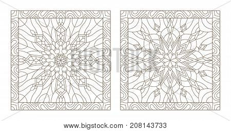 Set contour illustrations of stained glass with snowflakes in the framework of square image
