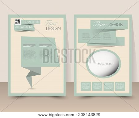 Flyer template. Business brochure. Editable A4 poster for design education presentation website magazine cover.  Retro style. Green and yellow color.