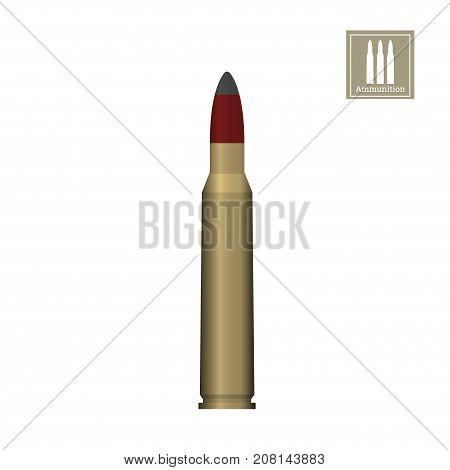 Bullet drawing on a white background. Weapon icon. Armed  ammunition. Vector illustration