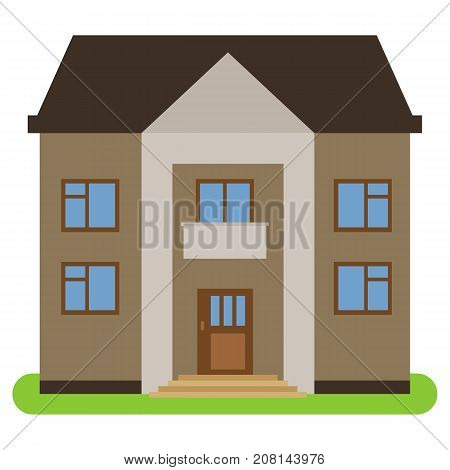 Private house with a brown roof and walls on a white background. Vector illustration.