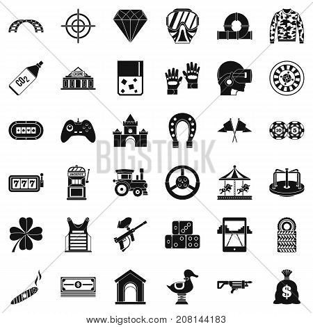 Slot machine icons set. Simple style of 36 slot machine vector icons for web isolated on white background