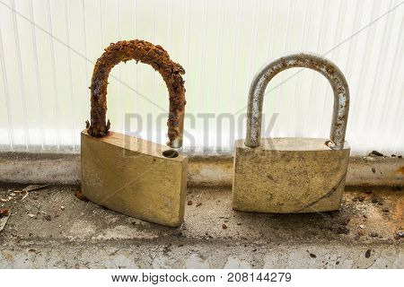 a pair of padlocks that were abandoned in the frame of a garage window suffered the onslaught of corrosion