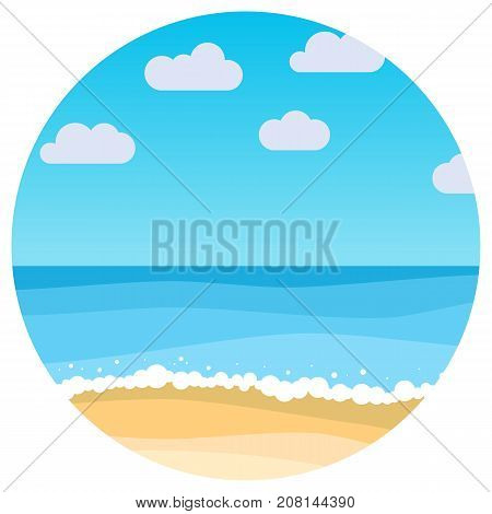 Vector landscape with summer beach in circle. Waves of the sandy beach blue sky and sea. Landscape vector illustration.