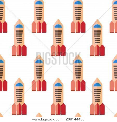 Seamless pattern with space rocket. Vector illustration.