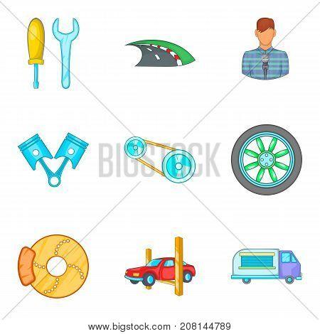 Roam icons set. Cartoon set of 9 roam vector icons for web isolated on white background