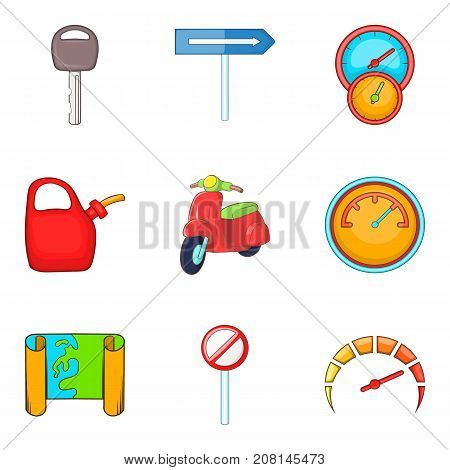Roaming icons set. Cartoon set of 9 roaming vector icons for web isolated on white background