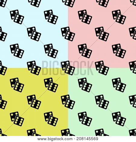 Gambling Dices SET Seamless Pattern on color Background. lucky dices black silhouette. Flat design Vector Illustration EPS