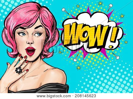 Pop Art illustration, surprised girl.Comic woman. Wow. Advertising poster. Pop Art girl. Birthday greeting card. Advertising poster. Pop art background