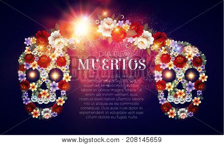 Day of the Dead Background with Traditional Mexican Scull with Flowers and Light Effects. Dia de los Muertos.