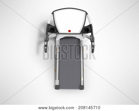 Modern Sports Treadmill On Top Gray With Black Metal 3D Render On Gray Background