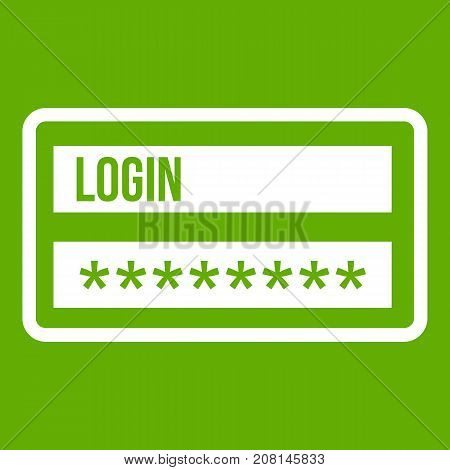 Login and password icon white isolated on green background. Vector illustration