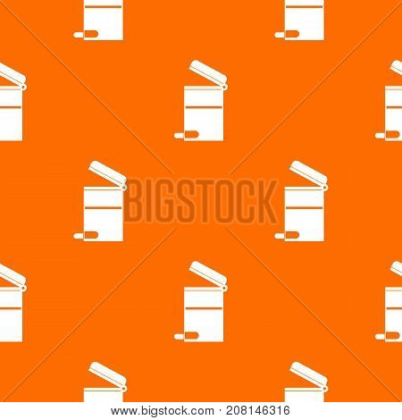 Steel trashcan pattern repeat seamless in orange color for any design. Vector geometric illustration
