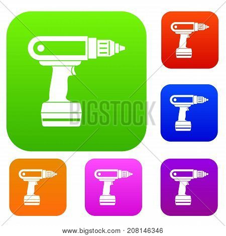 Electric screwdriver drill set icon color in flat style isolated on white. Collection sings vector illustration