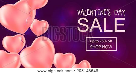 Valentine's Day Sale Banner With Hart Balloons.
