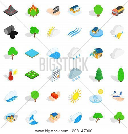 Globe icons set. Isometric style of 36 globe vector icons for web isolated on white background