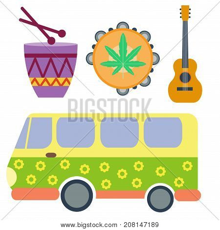Campers vacation travel car and rastafarian music summer nature holiday trailer house vector illustration flat transport. Classic caravan campsite automobile retro minivan camp vintage bus.