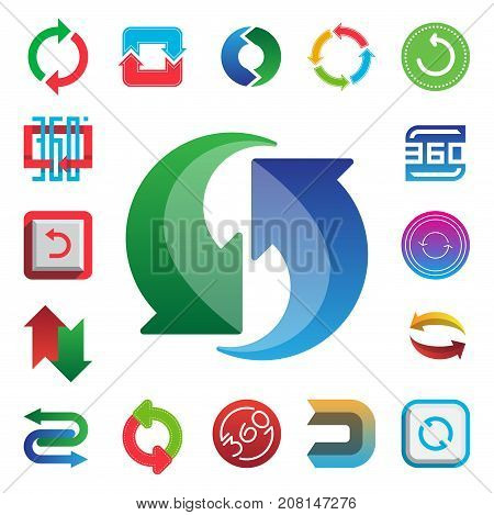 Angle 360 degrees web icons shape mark vector illustration. Geometry math signs badge full information symbols. Full complete rotation arrow virtual view app.