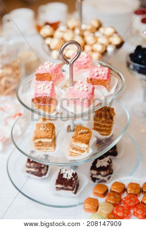 catering sweets. cake, cookies, cream, on a plate