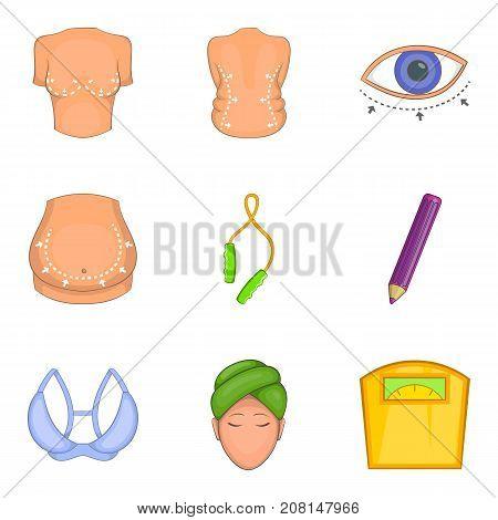 Correction of figure icons set. Cartoon set of 9 correction of figure vector icons for web isolated on white background