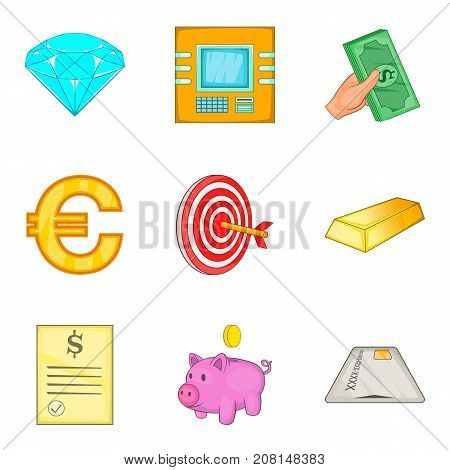 Fund icons set. Cartoon set of 9 fund vector icons for web isolated on white background