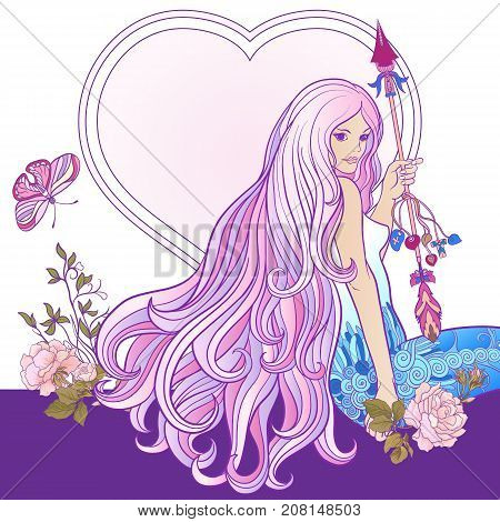 Young beautiful girl with long hair with arrow and roses. Stock line vector illustration.
