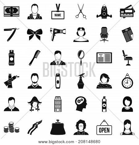 Hair style icons set. Simple style of 36 hair style vector icons for web isolated on white background
