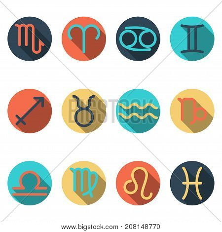 horoscope sign flat buttons, set of zodiac symbols, astrology icons collection, separated by elemental signs