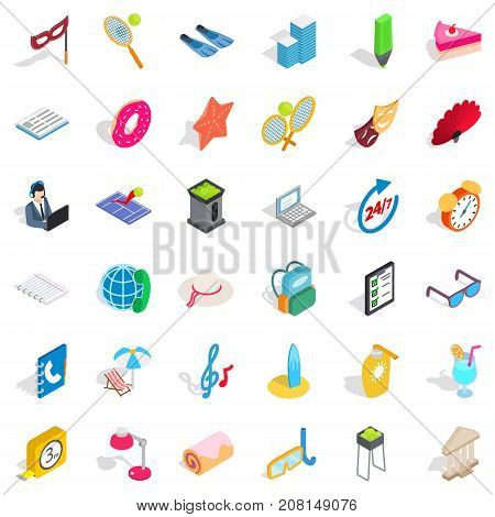 Entertainment icons set. Isometric style of 36 entertainment vector icons for web isolated on white background