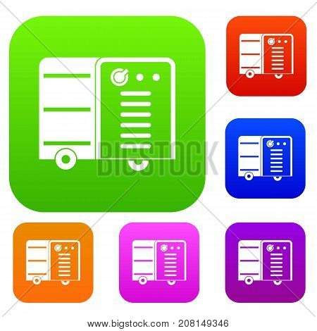 Inverter welding machine set icon color in flat style isolated on white. Collection sings vector illustration