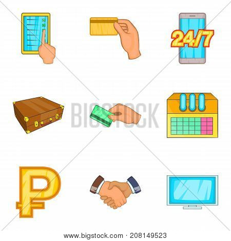 Major bank icons set. Cartoon set of 9 major bank vector icons for web isolated on white background