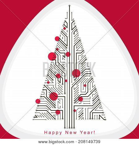 Art vector graphic illustration of digital Christmas tree made using lines mesh as branches. Holidays and merry Christmas idea. Technology and nature interaction metaphor.