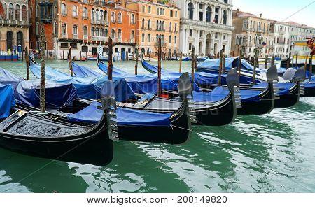 Gondolas the in Venice city Italy .